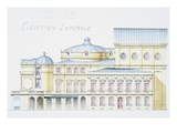 Architectural Drawing Showing Lateral Elevation of Theatre Building by H Monnet