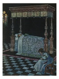 Illustration Depicting Sleeping Beauty and Her Attendant Asleep by W Heath Robinson