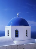 Detail of Whitewashed Church With Blue Dome