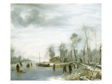 Winter Landscape with Ice Skaters by Jan van de Cappelle