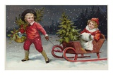 Postcard with Children and a Sleigh