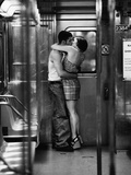Passionate Couple Kissing in Subway Car