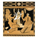 19th Century Greek Vase Illustration of Cassandra with Apollo and Minerva