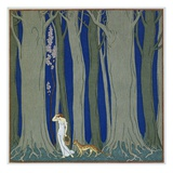 Book Illustration of a Woman and a Leopard in the Forest by Georges Barbier Giclée par Stapleton Collection