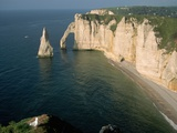The Manneport Arch and Aiguille of Etretat Cliffs  France