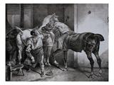 Farrier at Work Lithograph from Etudes de Cheveaux