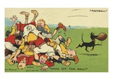 Postcard Cartoon of Rugby Match