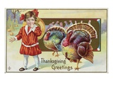 Thanksgiving Greetings with a Young Girl and Turkeys
