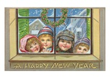 A Happy New Year of Children Peeking Through a Window