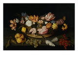 Still Life of Tulips  Roses  Fruit  and Shells by Joannes Busschaert