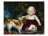 A Young Child with a Brown and White Spaniel by a Leafy Bank