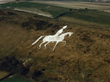 Aerial View of Man on Horse  Chalk Hillside Carving