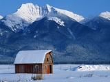 Snow Covered Barn and Mountain