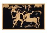 19th Century Antique Vase Illustration of Hercules Fighting Centaur Chiron