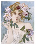 Poster of Young Woman with Flowers in Hair by Gaston-Gerard
