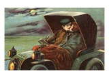 Postcard of a Couple Kissing in an Automobile