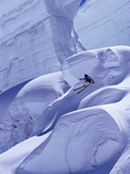 Person Skiing on Glacier in Alps