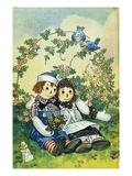 Illustration of Raggedy Ann and Raggedy Andy with Two Robins by Johnny Gruelle