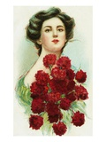 Postcard of Woman with Red Carnations