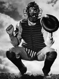 Baseball Catcher Awaiting the Ball