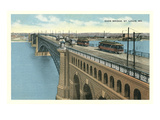 Eads Bridge  Streetcars  St Louis  Missouri