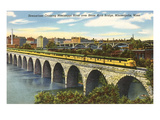 Train Crossing Stone Arch Bridge  Minneapolis  Minnesota