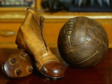 1900s Soccer Ball and Boots