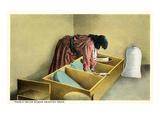 Pueblo Indian Woman Grinding Grain