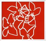 Fleurs Blanches Sur Fond Rouge  c2003