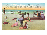Greetings from Cape May  New Jersey  Beach Scene