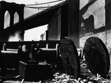 Cable Spools Below the Brooklyn Bridge  Manhattan  1944