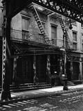 Elevated Train Track Shadows on a Cobblestone Street  Manhattan  1944