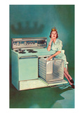 Lady with Tiara and Electric Stove  Retro
