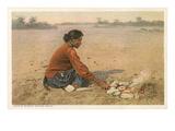 Navajo Woman Baking Bread
