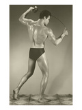 Muscle Man with Fencing Foil