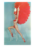 Showgirl with Red Feathers  Retro