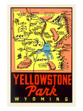Yellowstone National Park Map  Montana