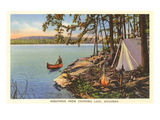Canoe  Camping at Chippewa Lake  Michigan