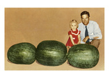Man and Child with Large Watermelons  Retro