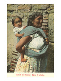 Oaxaca Woman Carrying Baby in Rebozo  Mexico