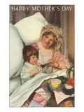 Happy Mothers Day  Mother and Child Eating in Bed