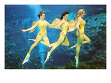 Three Green Mermaids  Retro