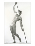 Muscle Man Posing with Bamboo Pole