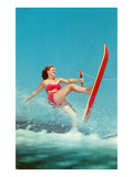 Woman Water Skier  Retro