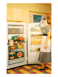 Slouching Lady with Open Fridge  Retro