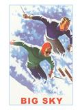 Couple Skiing  Big Sky  Montana