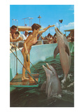 Lady in Bikini Feeding Porpoise
