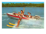 Waterskiing on the Lake  Retro