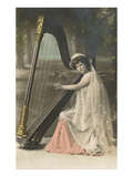 Lady Playing Harp