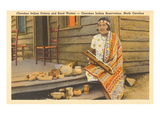 Cherokee Indian with Pottery  North Carolina